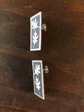 Load image into Gallery viewer, Susan Twining Creations - Golden Oak Leaves on Black Rectangles Post Earrings