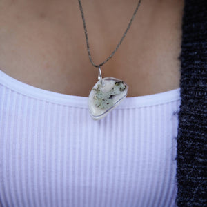 Succulent Sirens- Lichen Asymmetry Pendant Hemp Necklace