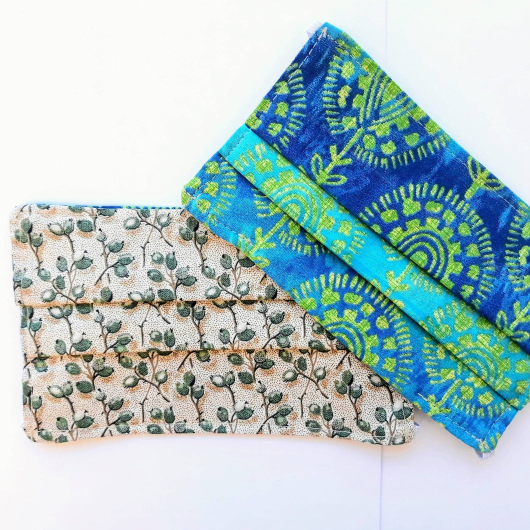 Katie-Maed-It - Teal and Lime Paisley Reversible Mask
