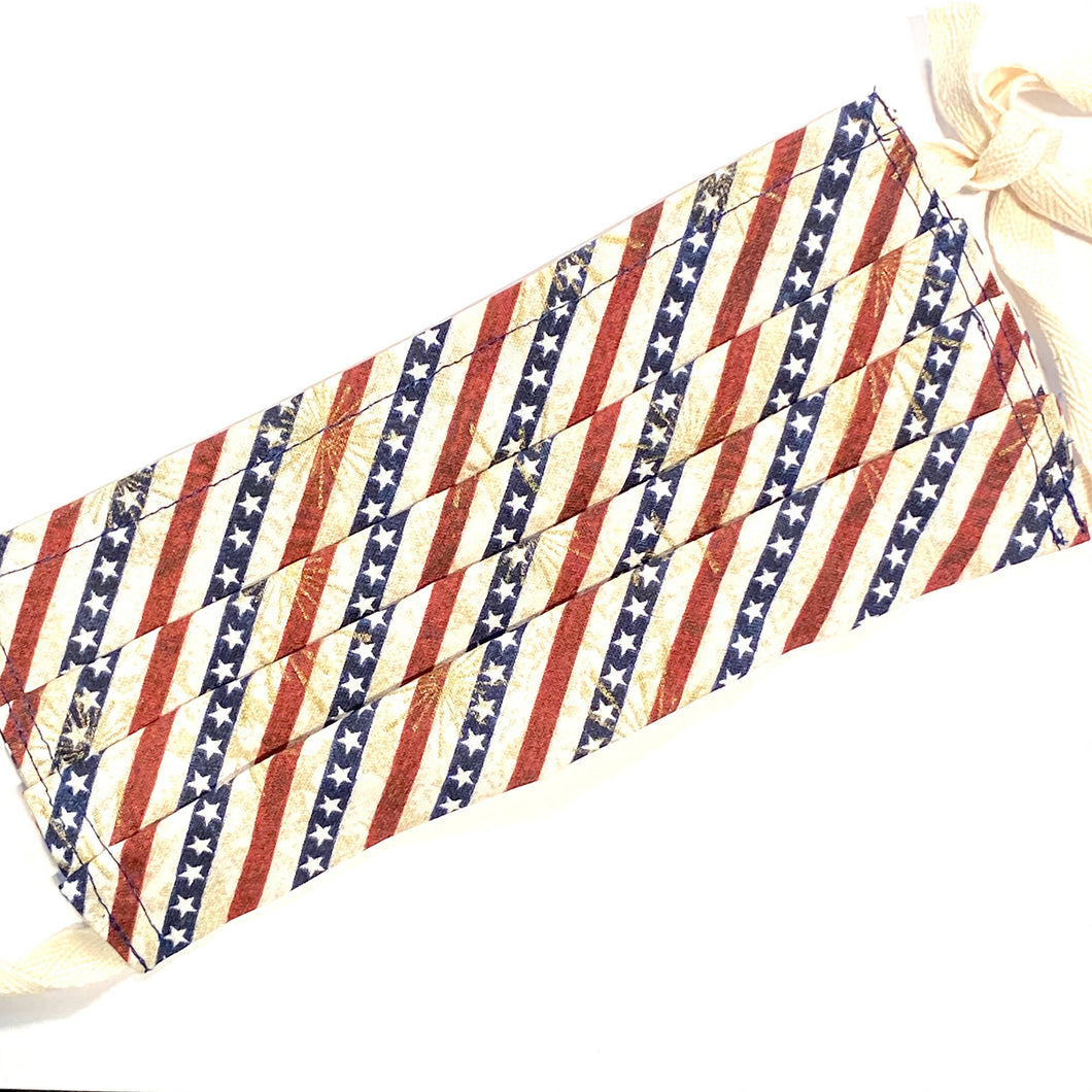 Jean Stone - Stars and Stripes Pleated Mask, Cotton Ear-Loops - Sacramento . Shop