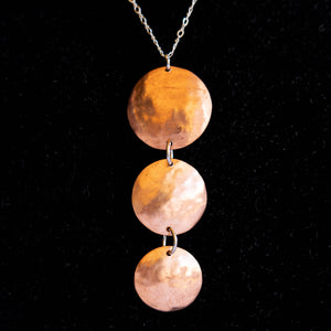 Joyce Pierce - Three Disc Down Hand Hammered Necklace, Jewelry, Joyce Pierce, Sacramento . Shop