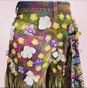 Grace Yip Designs- Be Kind With A Butt Full of Flowers Spaghetti Jeans