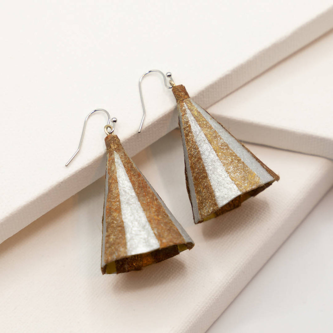 Susan Twining Creations - Textured Gold and Silver Cone Earrings