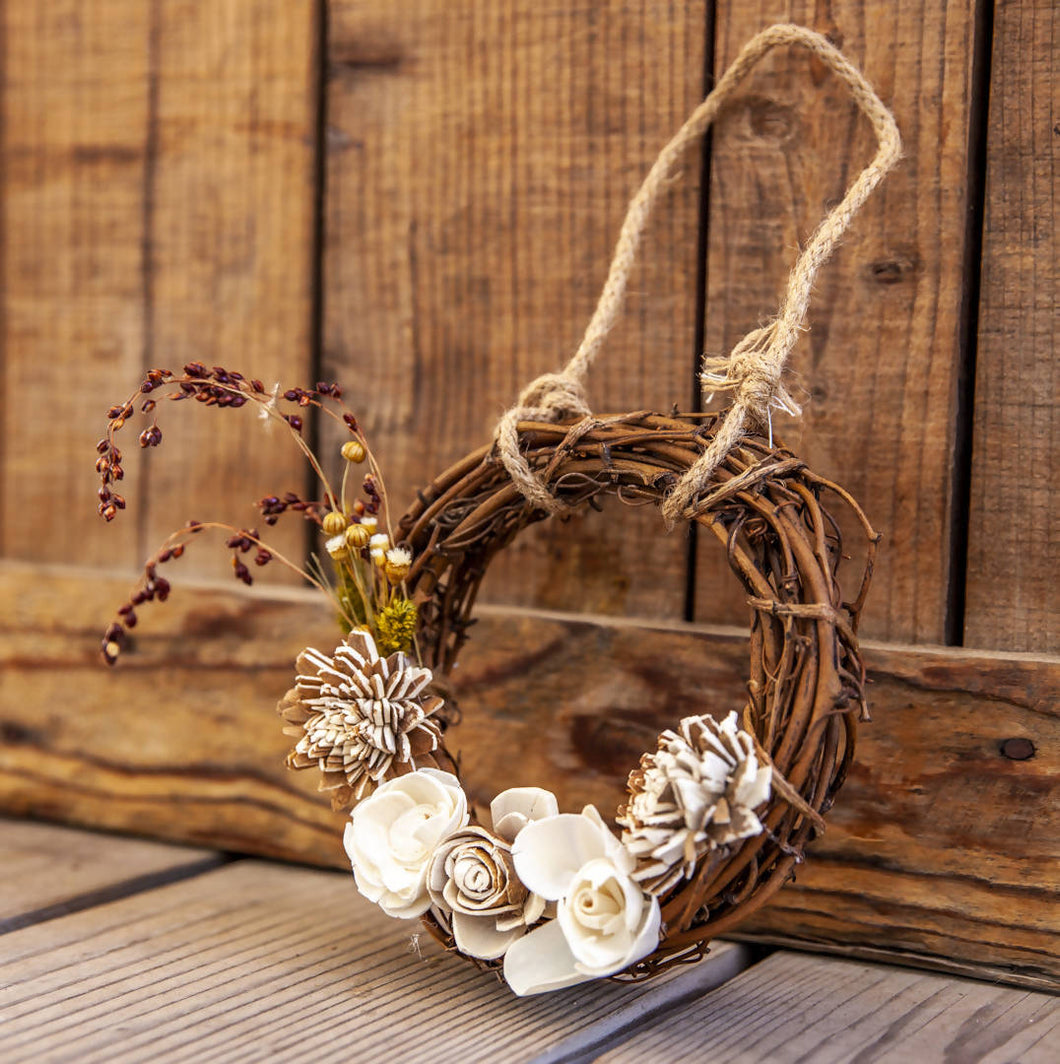 Ecojoyous - Small Dried Flower Wreath, Home Decor