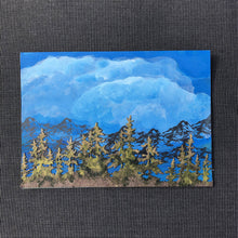 Load image into Gallery viewer, Susan Twining Creations - Greeting Card - Hand Painted Blue Sky, Mountains, and Pine Trees