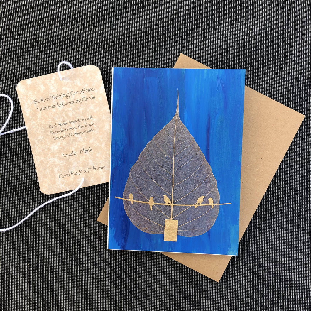 Susan Twining Creations - Handmade Greeting Card, Bodhi Skeleton Leaf and Gold Birds