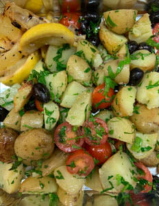 Roasted New Potatoes, baby artichokes, black olives, cherry tomatoes, parsley & sage