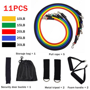 11-Piece Fitness Resistance Bands Set - 11pcs - Hylthi