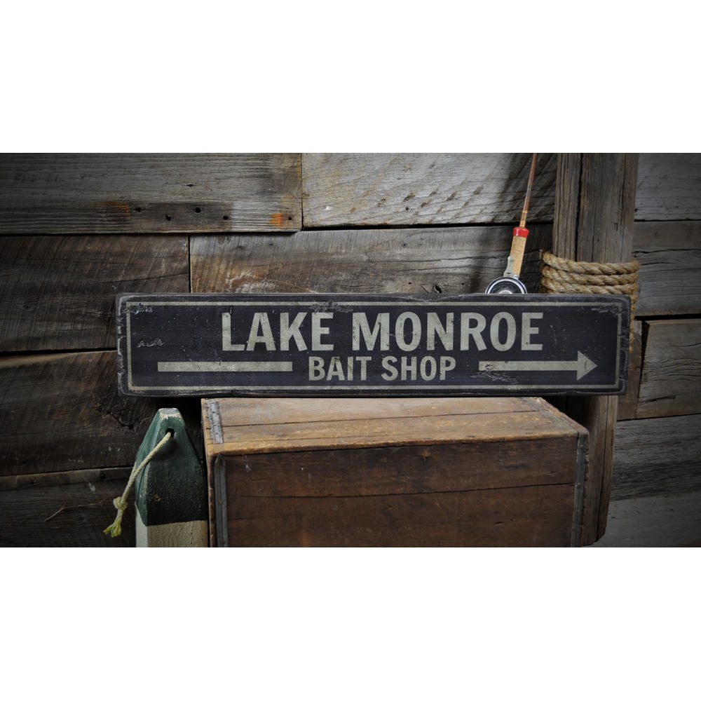 Lake Bait Shop Arrow Vintage Wood Sign