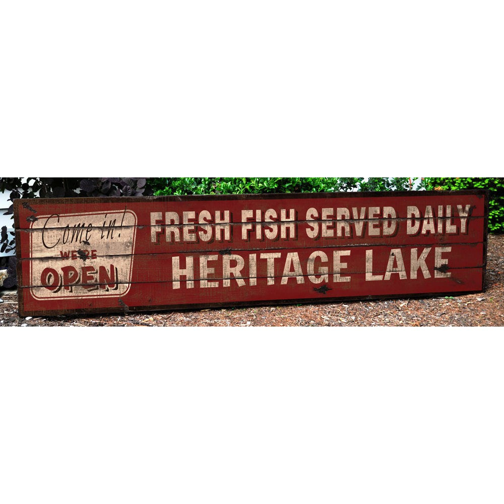 Open Fresh Fish Served Daily Vintage Wood Sign