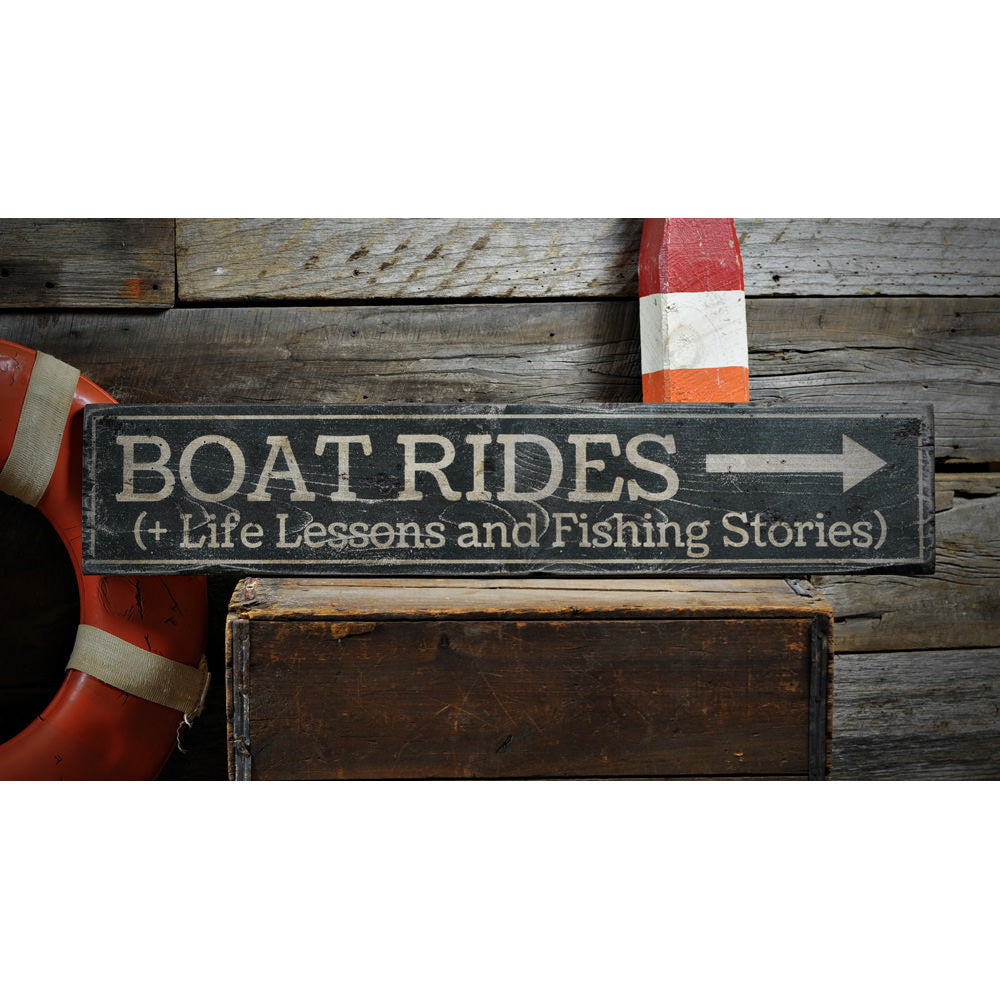 Boat Rides Vintage Wood Sign