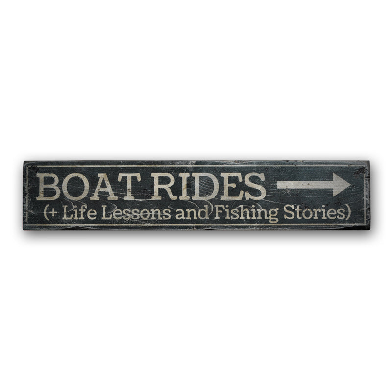 Boat Rides Rustic Wood Sign