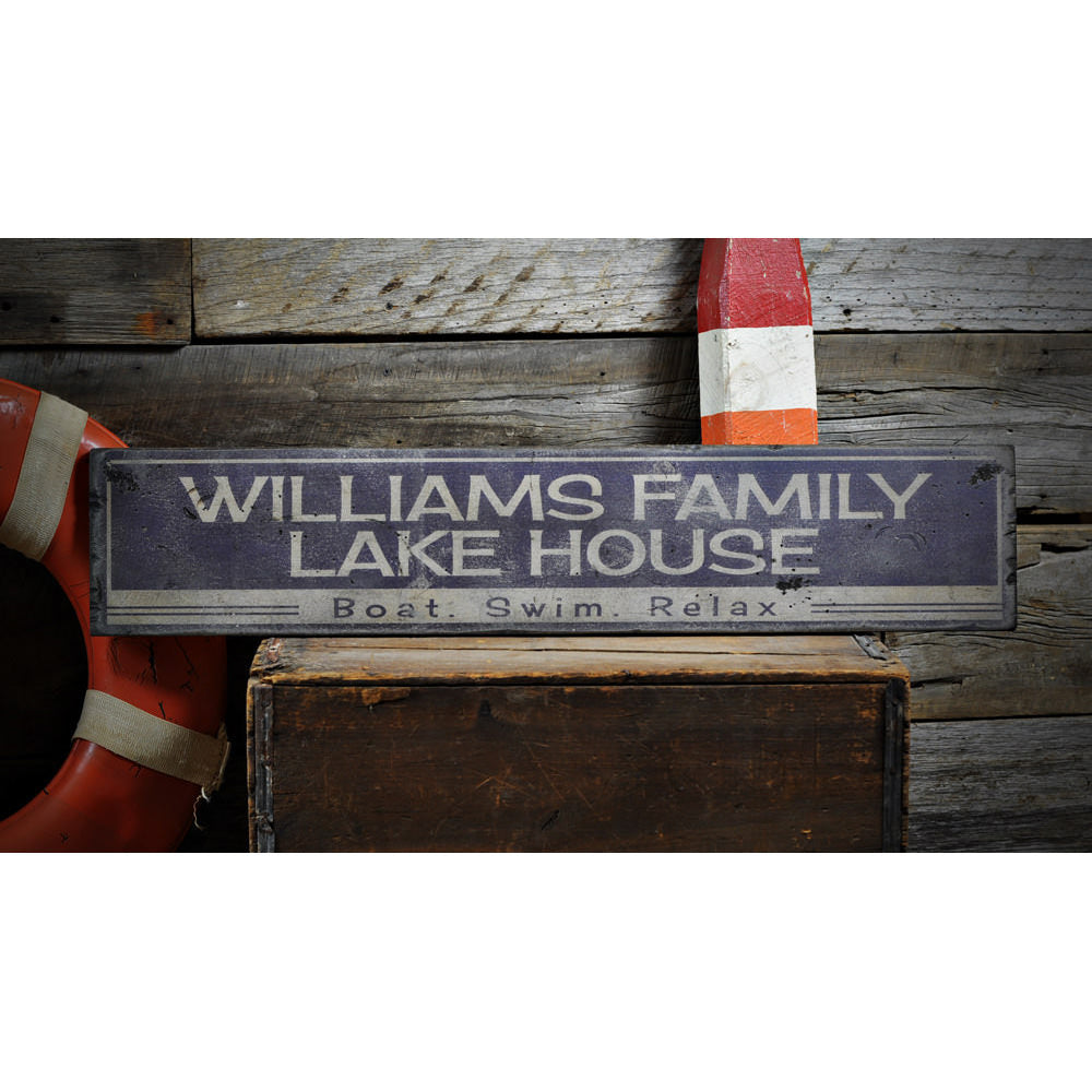 Boat Swim Relax Vintage Wood Sign
