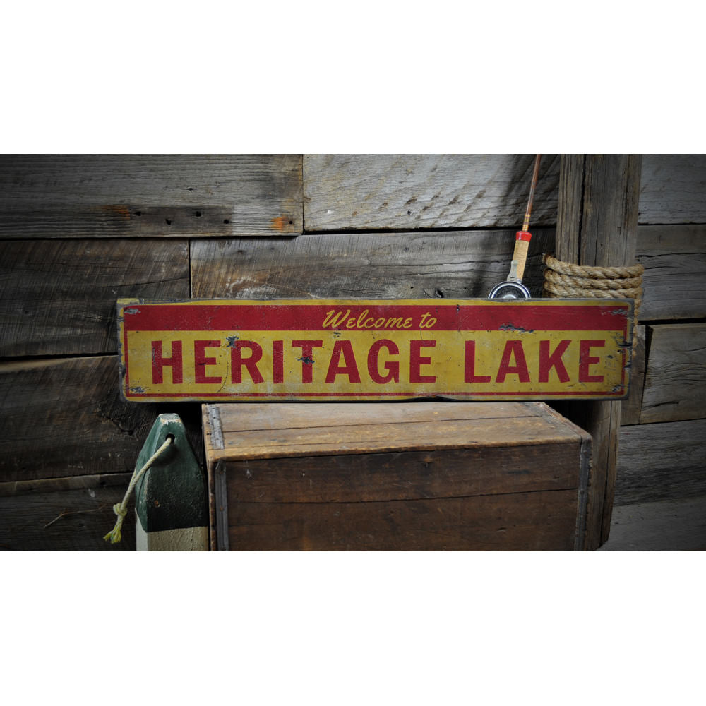 Welcome Lake Name Vintage Wood Sign