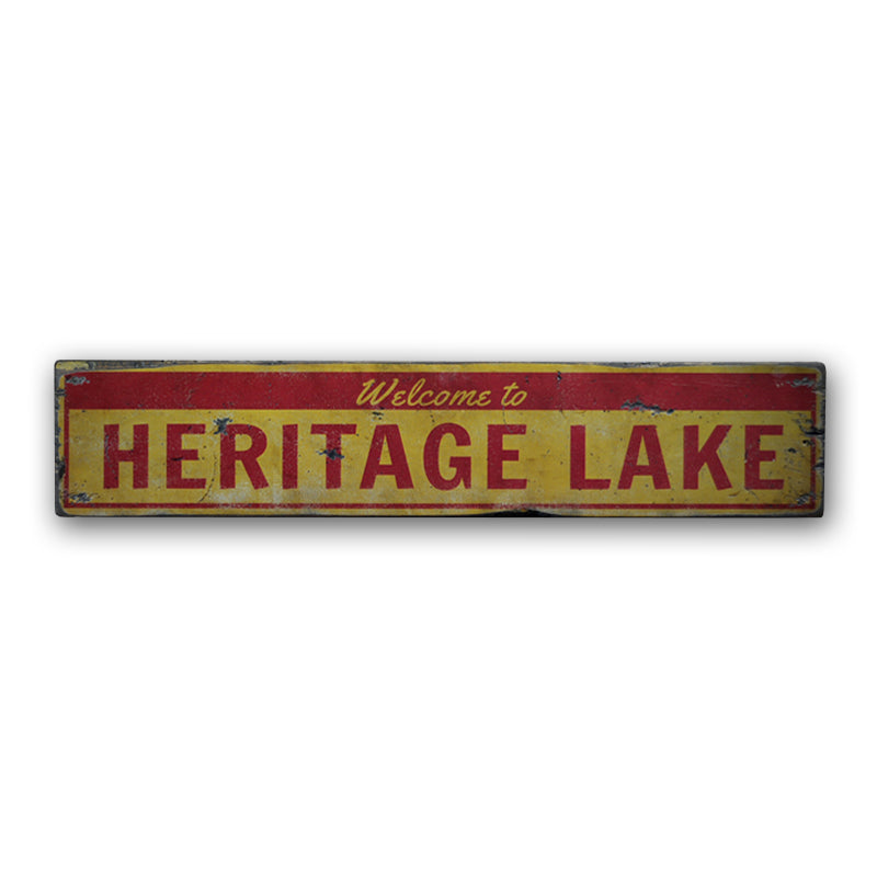 Welcome Lake Name Rustic Wood Sign