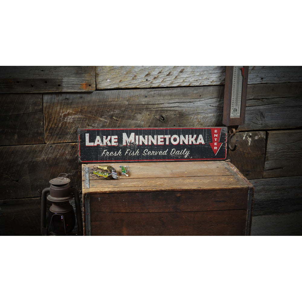 Fresh Fish Lake Vintage Wood Sign