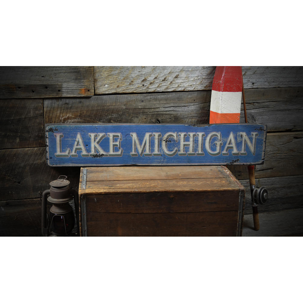 Lake Vintage Wood Sign