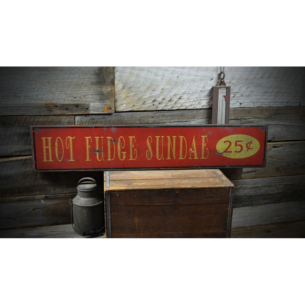 Hot Fudge Sundae 25 Cents Vintage Wood Sign