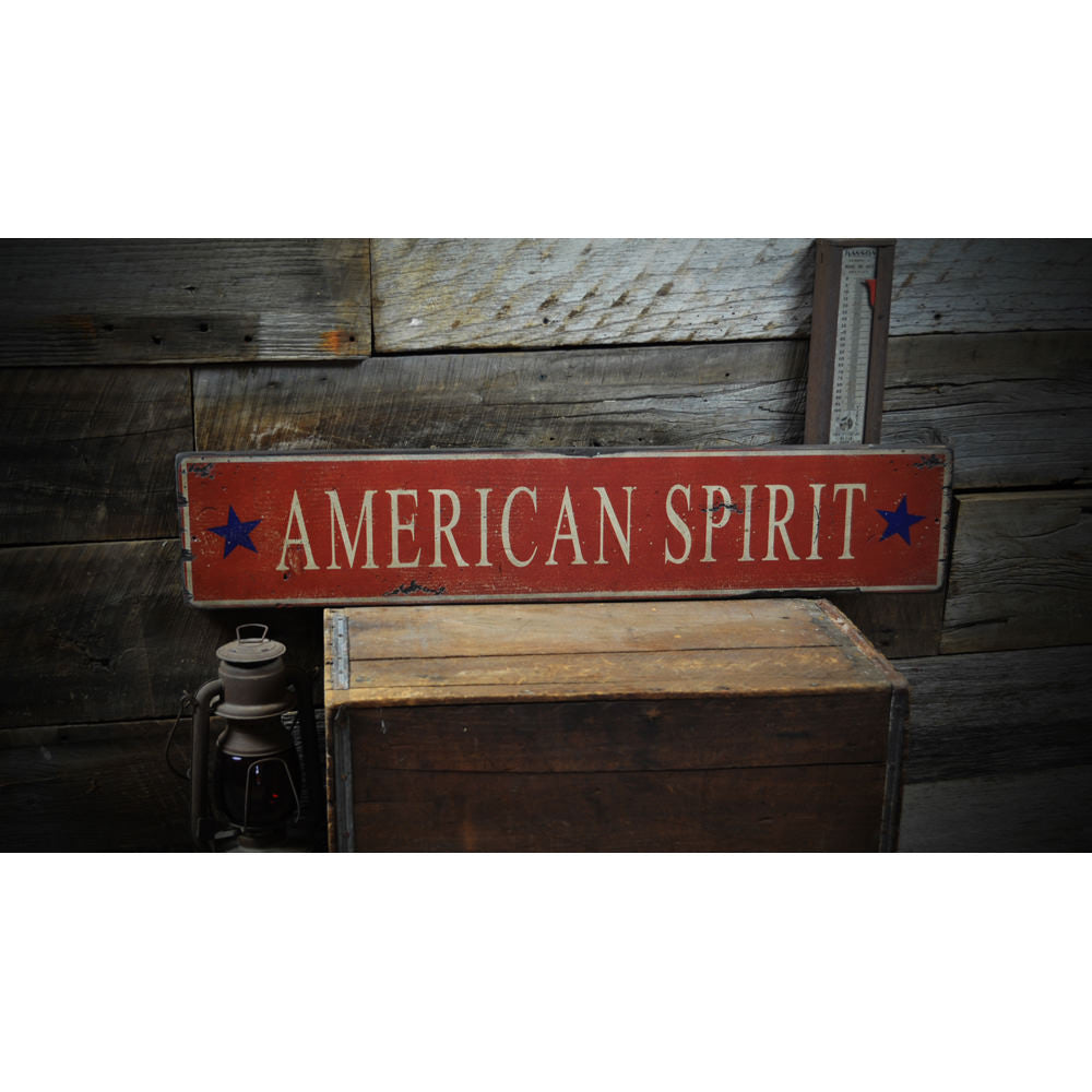 American Spirit 4th of July Vintage Wood Sign