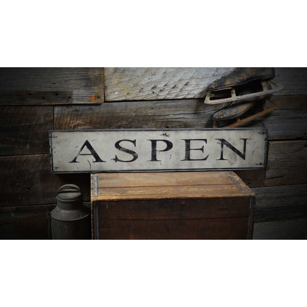Aspen Ski Destination Vintage Wood Sign