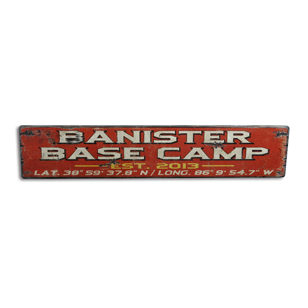 Base Camp Established Date Vintage Wood Sign