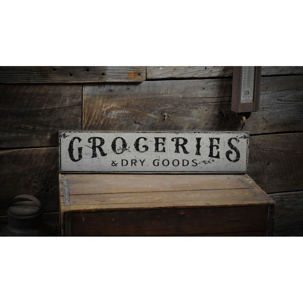 Groceries & Dry Goods Kitchen Vintage Wood Sign