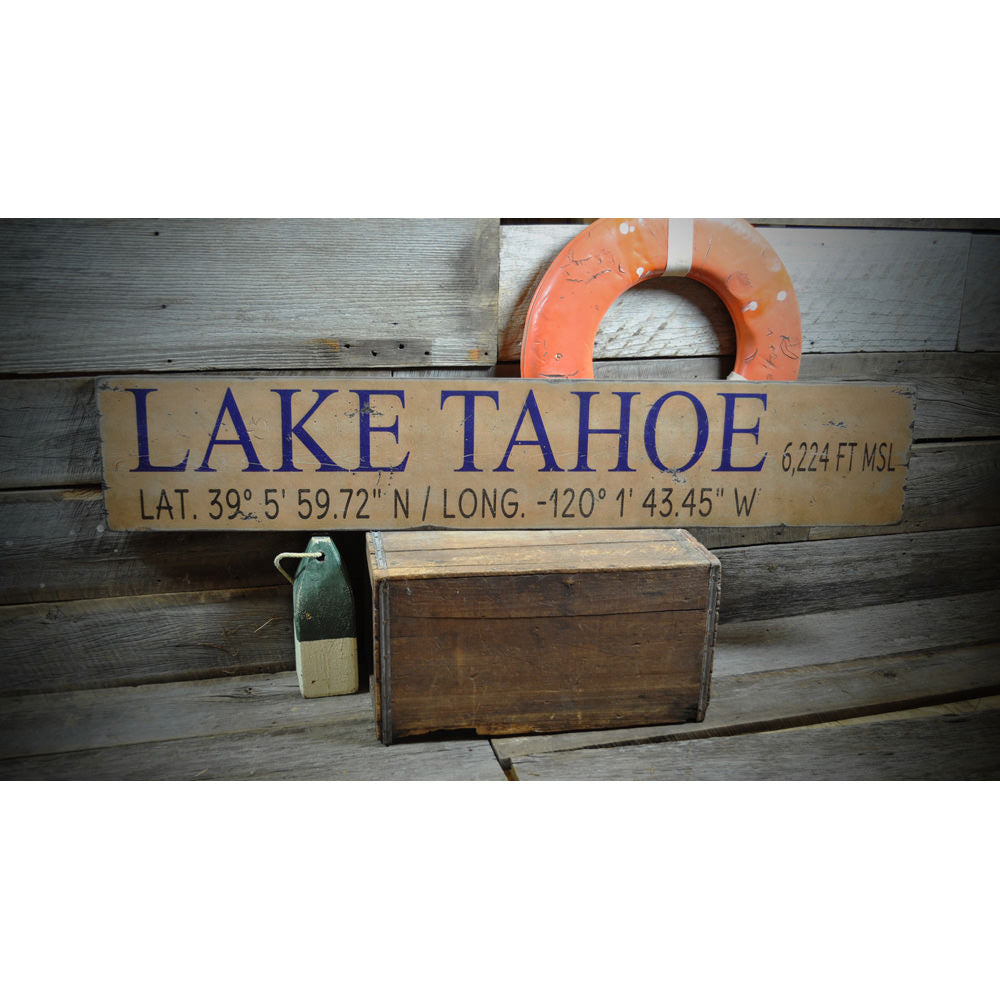 Lake Tahoe Vintage Wood Sign