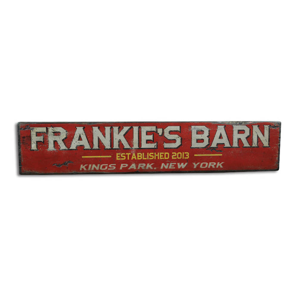 Barn City State Vintage Wood Sign