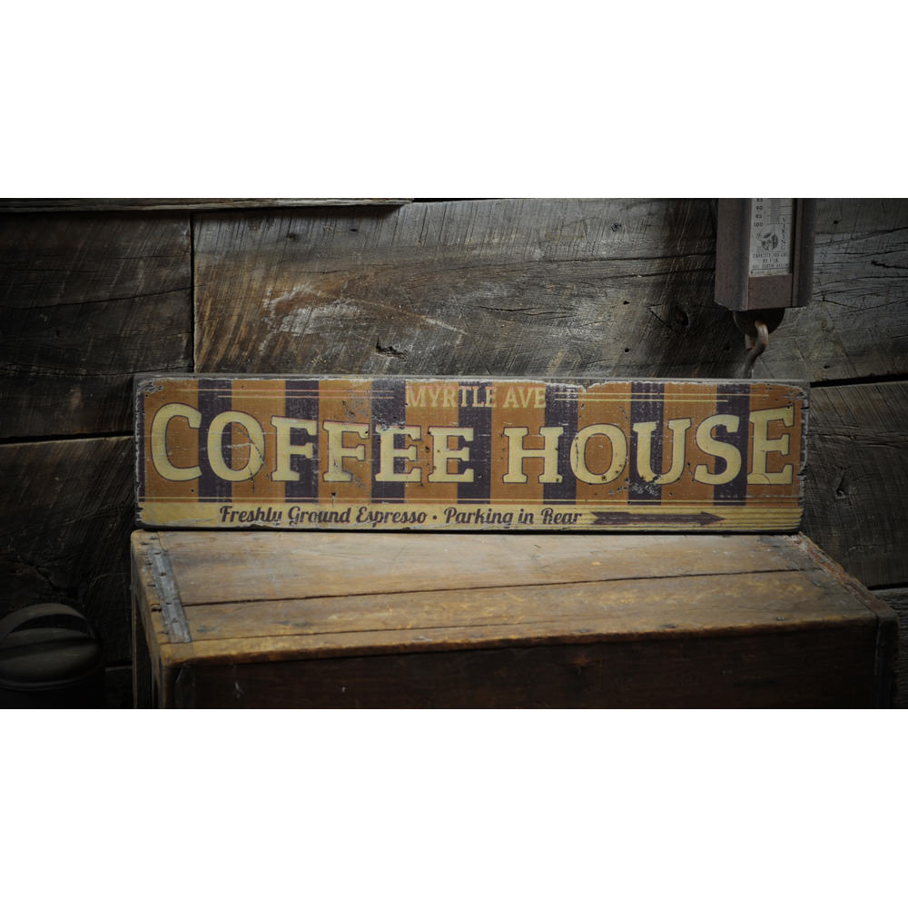 Coffee House Retro Vintage Wood Sign