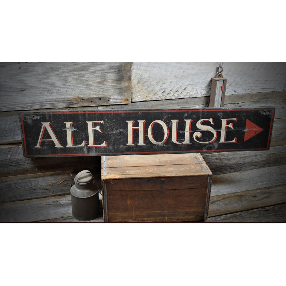 Ale House Pub Brewery Vintage Wood Sign