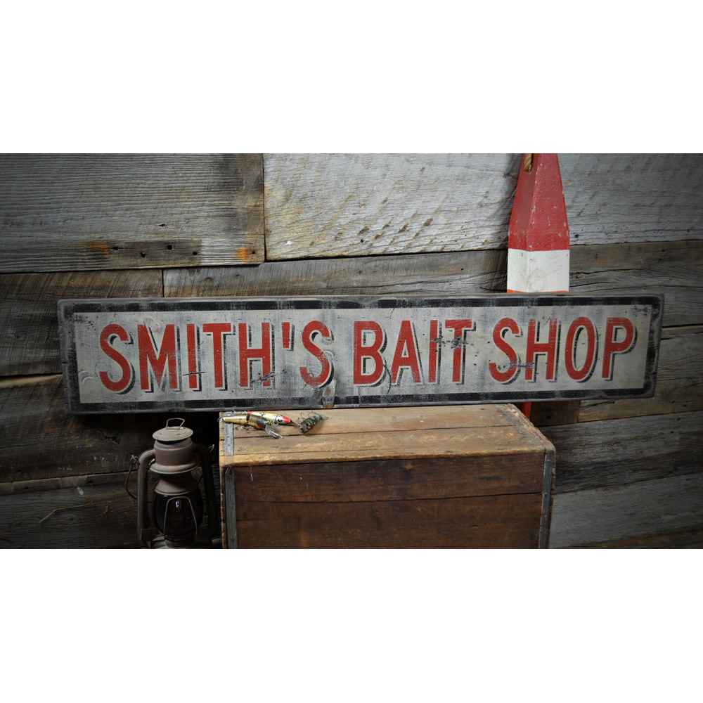 Bait Shop Vintage Wood Sign