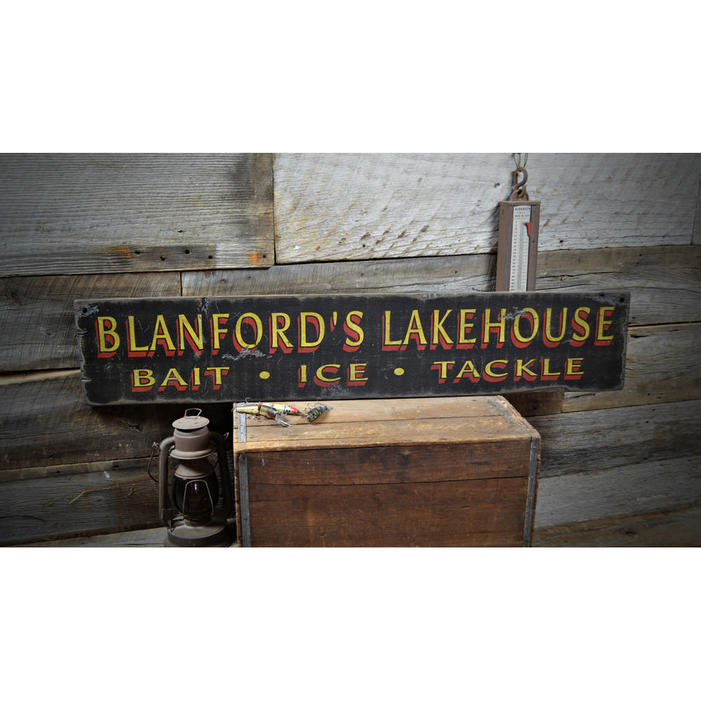 Bait Ice & Tackle Lake House Vintage Wood Sign