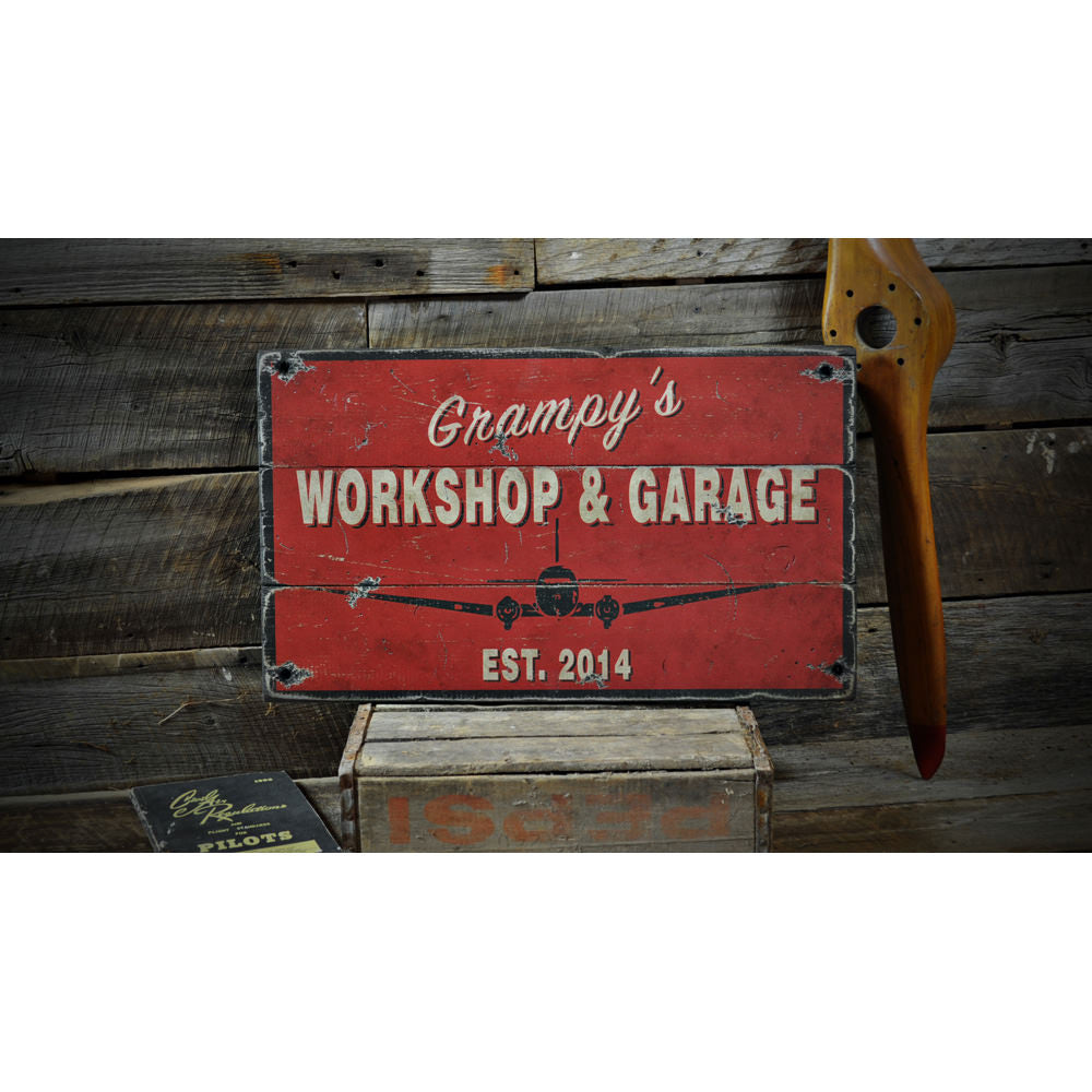 Aviation Workshop Garage Vintage Wood Sign