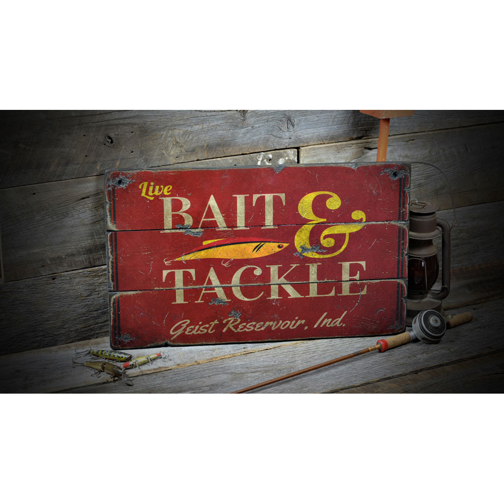Bait & Tackle Lake House Vintage Wood Sign