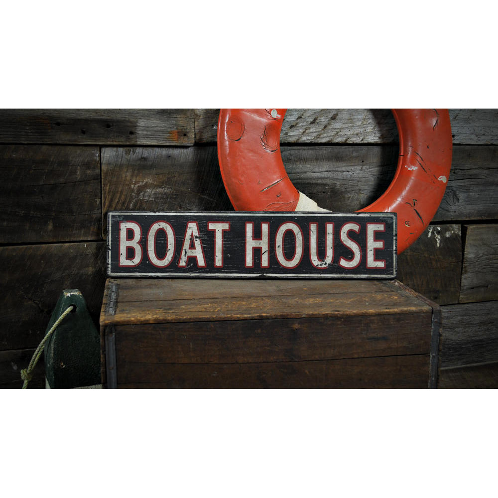 Distressed Boat House Vintage Wood Sign