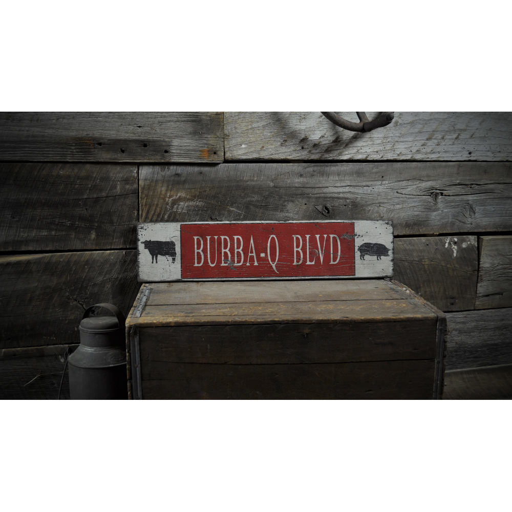 BBQ Blvd Cow & Pig Vintage Wood Sign
