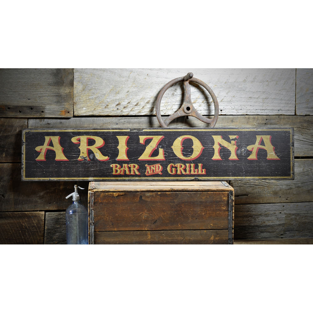 Arizona Bar & Grill Vintage Wood Sign