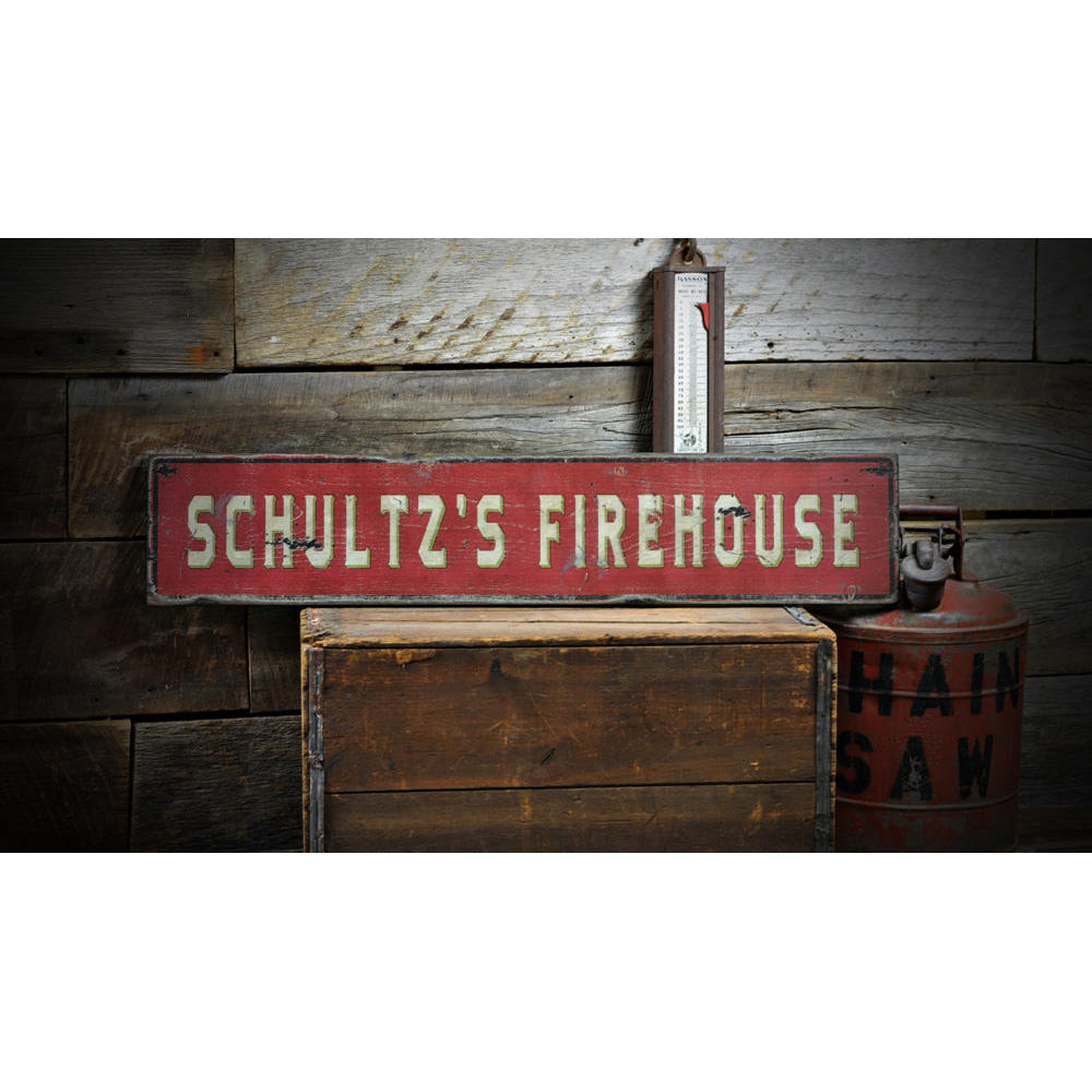 Family Firehouse Vintage Wood Sign