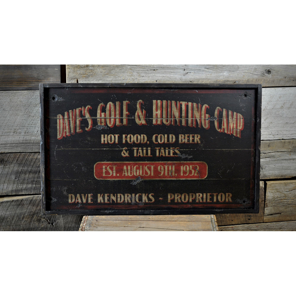 Distressed Golfing Proprietor Vintage Wood Sign