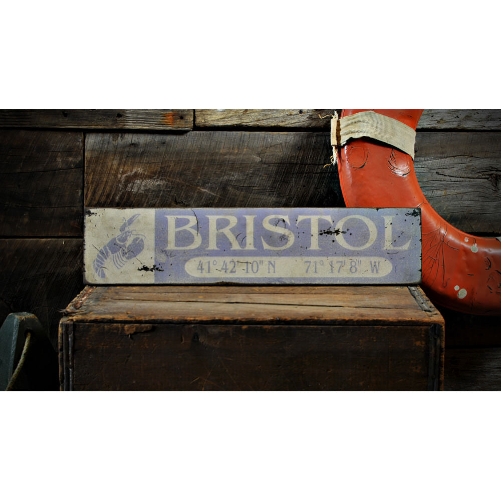 Lobster Lat/Long City Vintage Wood Sign