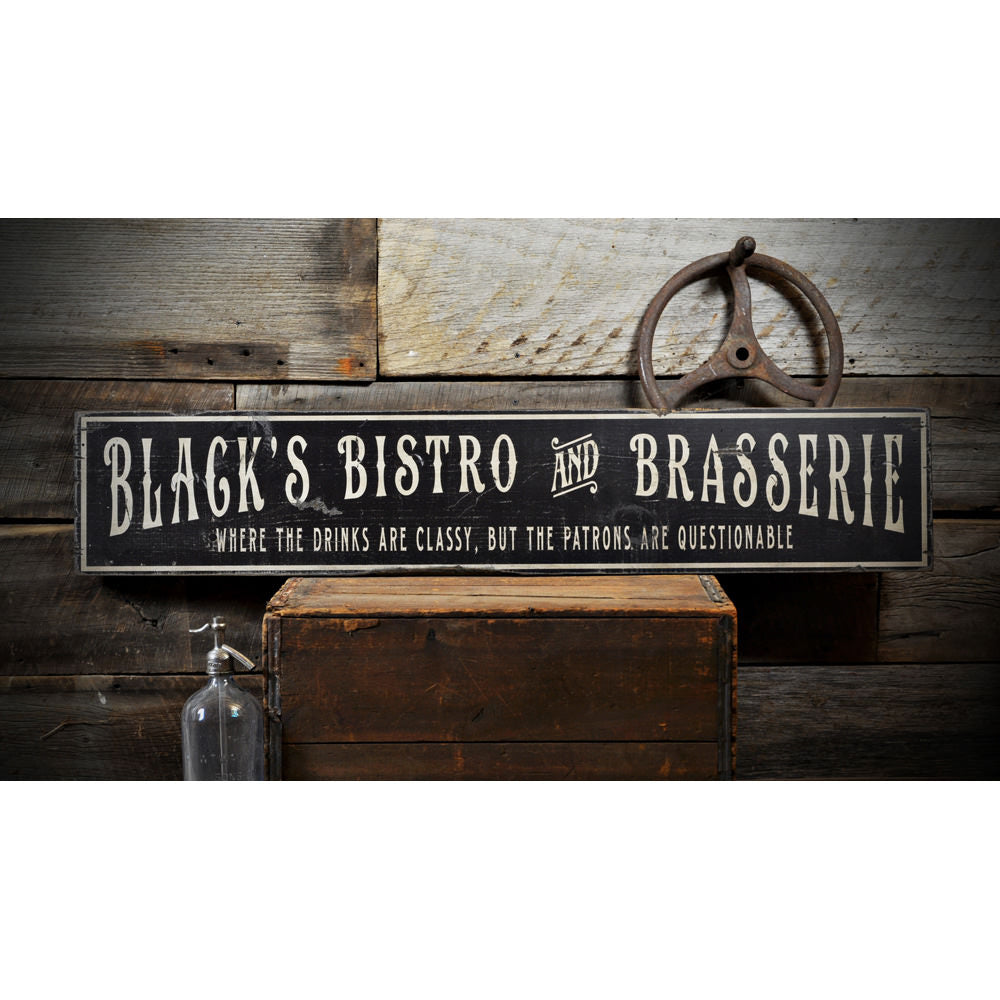 Bistro & Brasserie Vintage Wood Sign