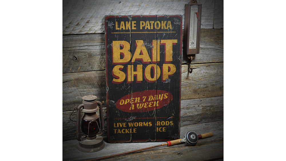 Bait Shop Open Vintage Wood Sign