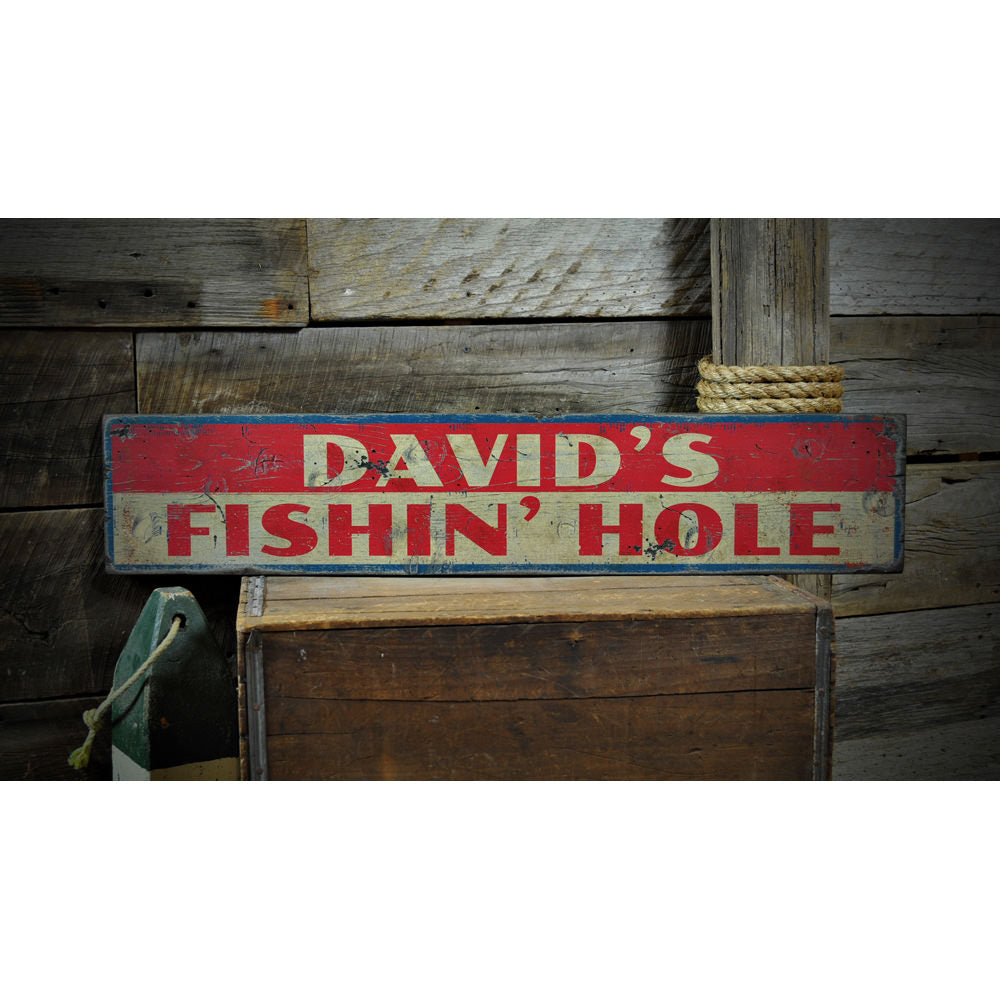 Fishin Hole Vintage Wood Sign