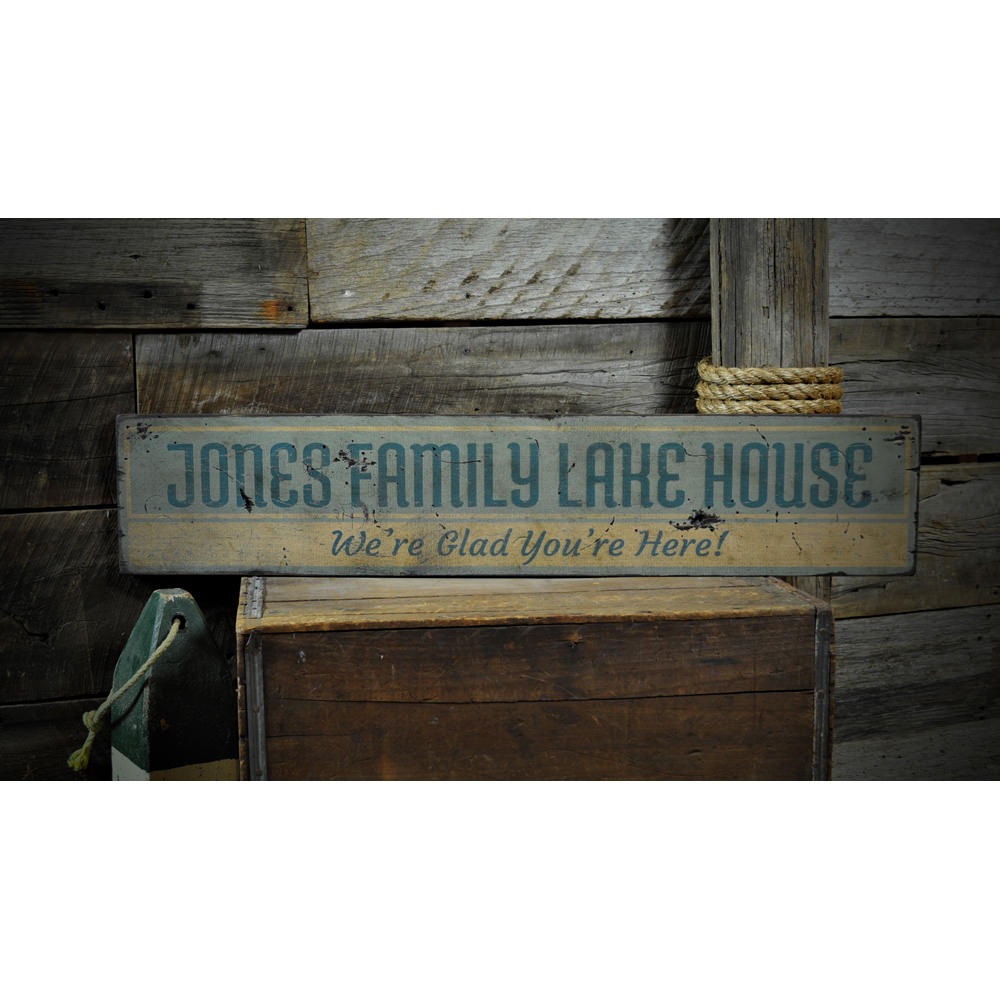 Family Lake House Vintage Wood Sign