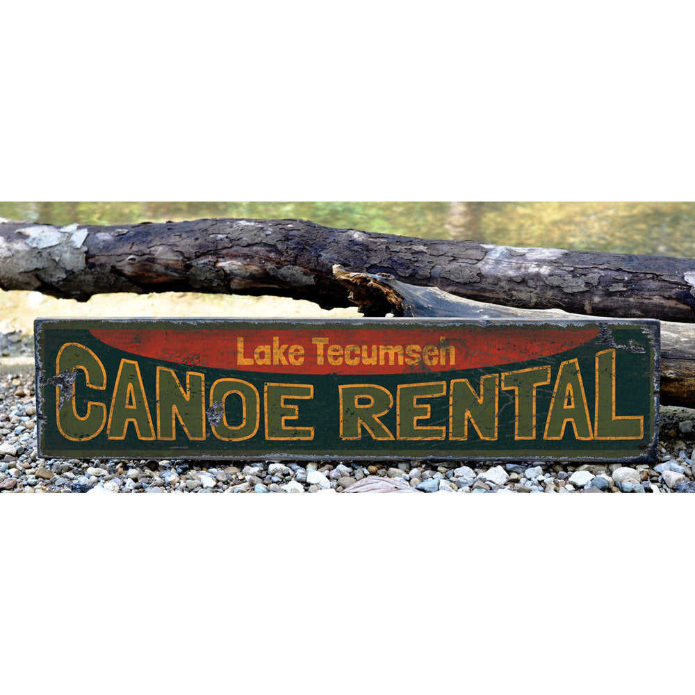Canoe Rental Vintage Wood Sign