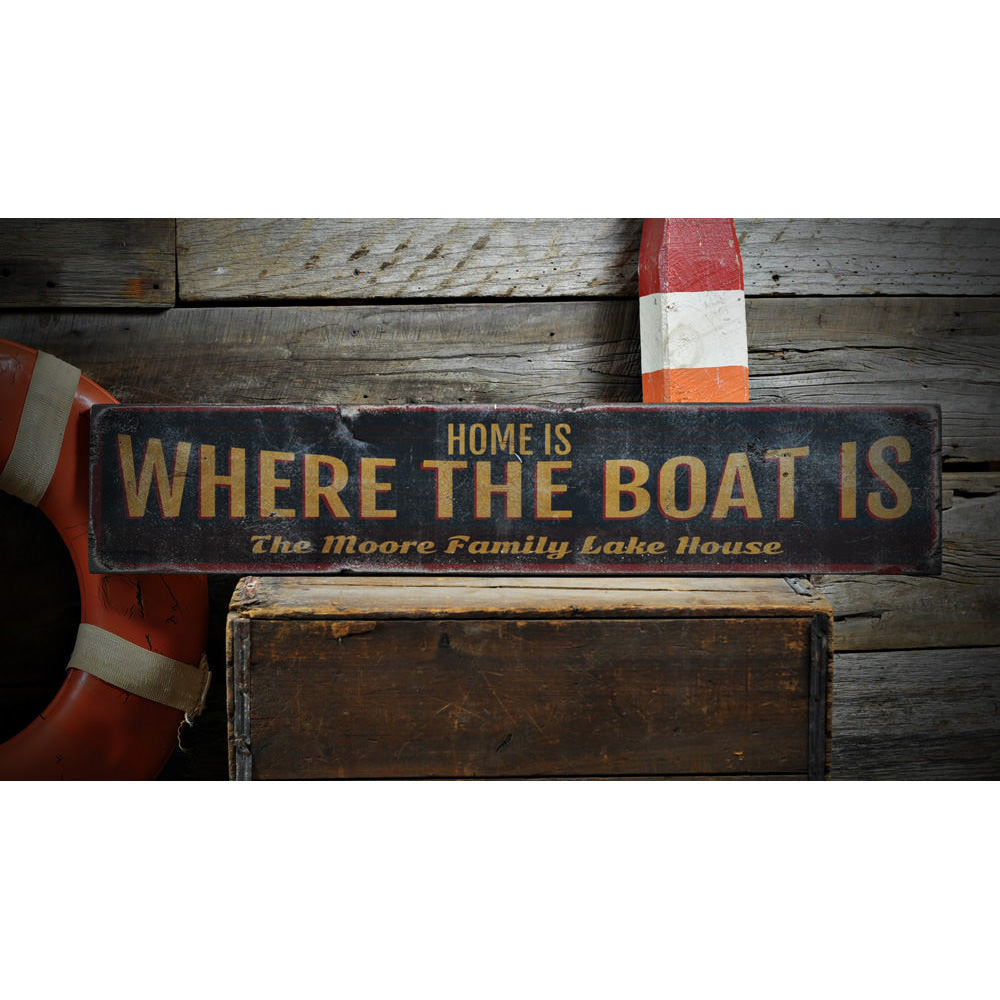 Home is Where the Boat is Vintage Wood Sign