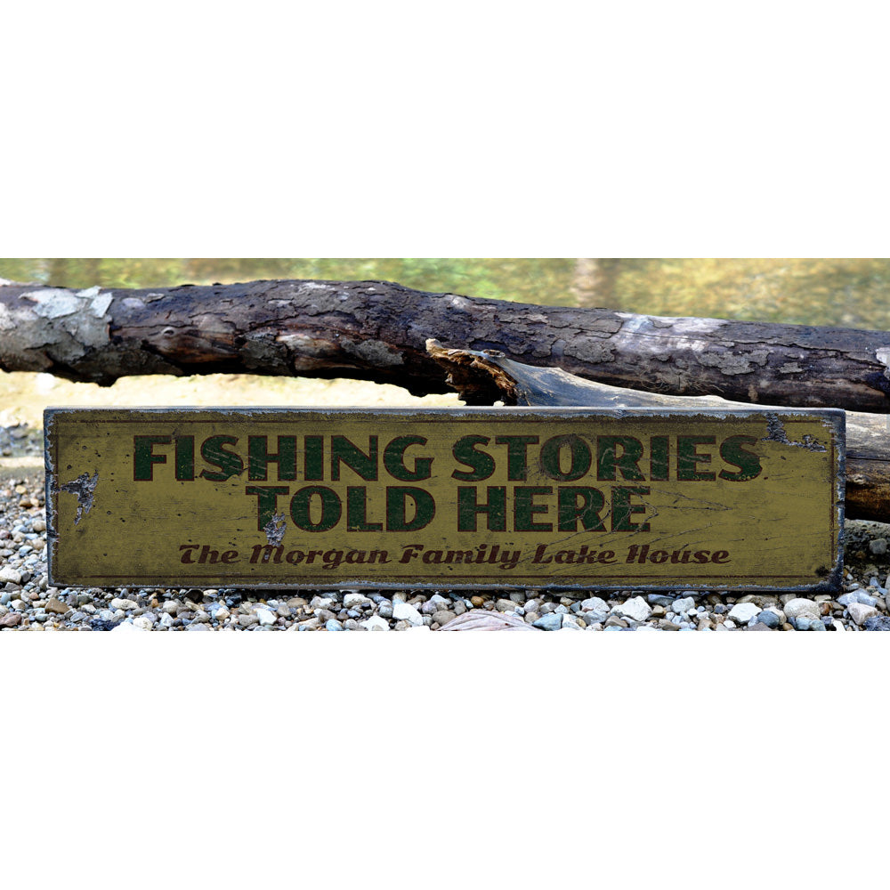 Fishing Stories Told Here Vintage Wood Sign