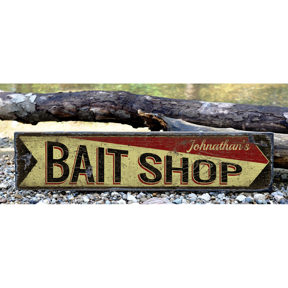 Bait Shop Arrow Vintage Wood Sign