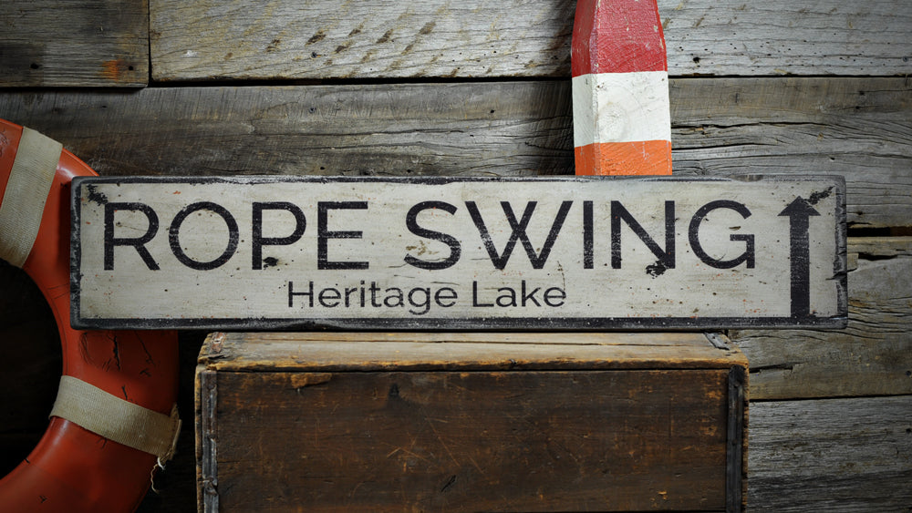 Rope Swing Rustic Wood Sign