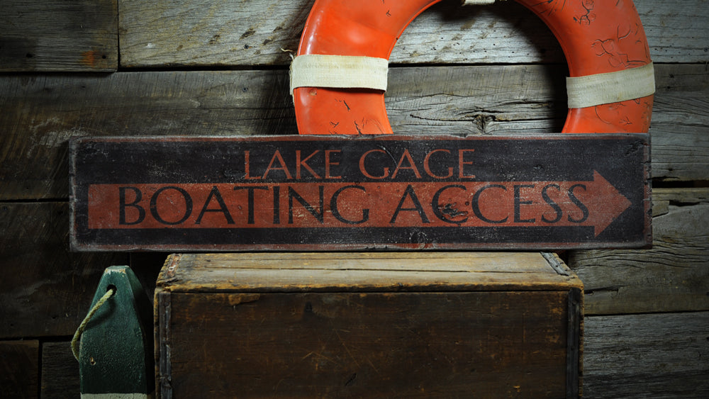 Boating Access Arrow Rustic Wood Sign
